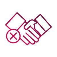 avoid handshake sick people prevent spread of covid19 gradient icon vector