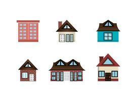bundle of house facade icons vector