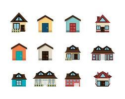 bundle house facade isometric icons vector