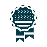 happy independence day medal memorial american flag silhouette style icon vector
