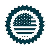 happy independence day american flag celebration national badge silhouette style icon vector