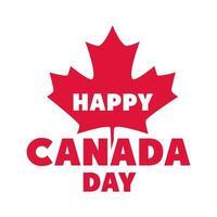frase del día de canadá icono de estilo plano de celebración conmemorativa de la hoja de arce roja vector