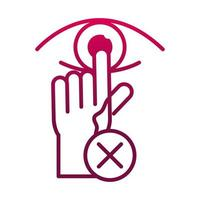 avoid touch eye prevent spread of covid19 gradient icon vector