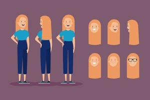 young woman with blonde hair and heads set vector