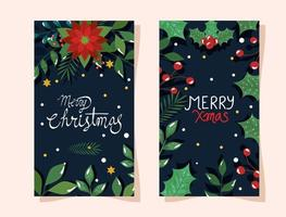 set of poster of merry christmas with flowers and leaves vector