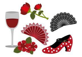 Paquete de baile flamenco y conjunto de iconos. vector