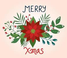 merry christmas poster with flower and leaves vector