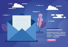 envelope mail communication with leaves decoration vector