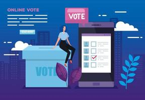 poster of vote online with smartphone and businesswoman vector