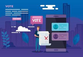poster of vote online with smartphone and man vector