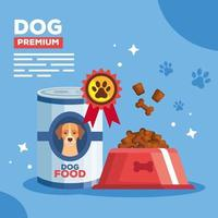 poster with premium food for dog animal vector