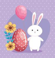 cute rabbit with easter egg and decoration vector