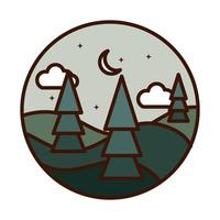 landscape nature trees hills half moon stars line and fill icon vector