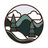 landscape nature falling snow pine trees hills winter line and fill icon vector
