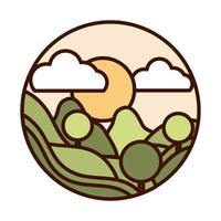 landscape nature mountains round trees forest sun line and fill icon vector