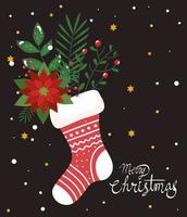 merry christmas poster with sock and flowers decoration vector