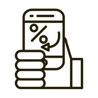 hand with smartphone transaction financial business stock market line style icon vector
