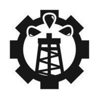 bomba de aceite engranaje trabajo crisis comercial economía precio del petróleo choque silueta estilo icono vector