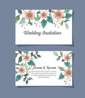 set of wedding invitation cards with flowers decoration vector