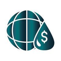 world money financial trade crisis economy oil price crash gradient style icon vector