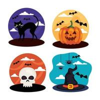 set of scenes for happy halloween celebration vector