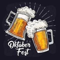 celebración del festival oktoberfest con jarras de cerveza vector
