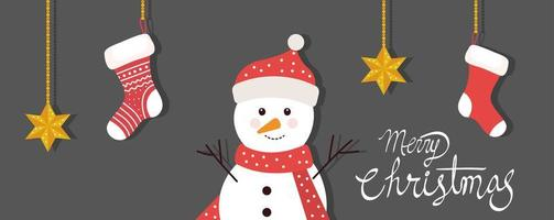 merry christmas poster with snowman and hanging socks vector