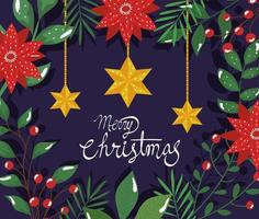 poster of merry christmas with flowers and hanging stars vector
