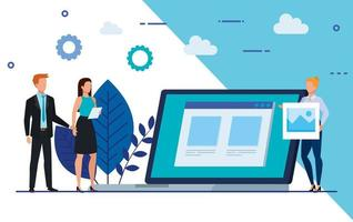 group of business people with laptop and icons vector