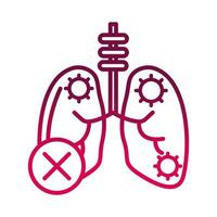 disease pneumonia lungs prevent spread of covid19 gradient icon vector
