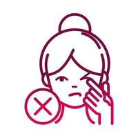 avoid touching eyes to prevent the spread of covid19 gradient icon vector