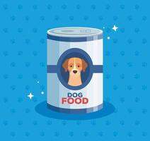 dog animal food in can vector