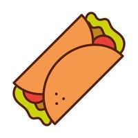 burrito mexicano cena de comida rápida y menú comida sabrosa y línea insalubre e ícono de relleno vector