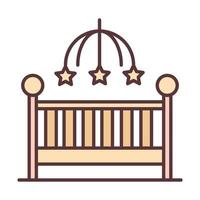 baby little crib with mobile toy welcome newborn line and fill design icon vector