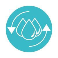 save water drops nature liquid blue block style icon vector