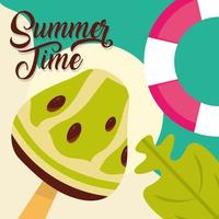 hello summer travel and vacation season lifebuoy ice cream leaf lettering text vector