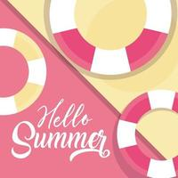 hello summer travel and vacation season lifebuoy nautical background lettering text vector