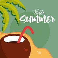 hello summer travel and vacation season coconut cocktail beach shore palm lettering text vector