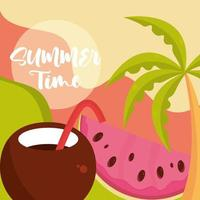 hello summer travel and vacation season coconut cocktail watermelon palm tree lettering text vector