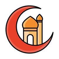 half moon with temple eid mubarak islamic religious celebration line and fill icon vector
