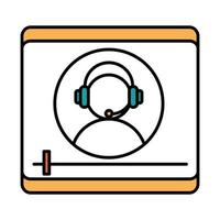 online education character with headset video seminar teaching website and mobile training courses line and fill icon vector