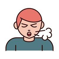 covid 19 prevención del coronavirus hombre enfermo con tos seca propagación brote línea pandémica e ícono de estilo de relleno vector