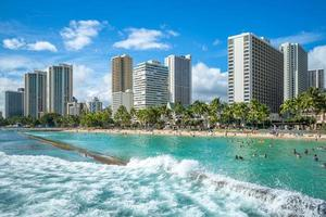 Skyline of Honolulu at Waikiki beach Hawaii US photo