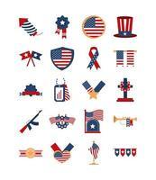 los iconos de la celebración nacional americana del día conmemorativo establecen icono de estilo plano vector