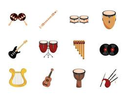 musical instruments string wind percussion icon set isolated icon vector