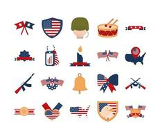 memorial day american national celebration icons set flat style icon vector