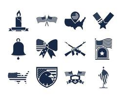 memorial day american national celebration icons set silhouette style icon vector
