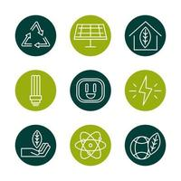 sustainable energy alternative renewable ecology icons set block line style icon vector