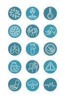 virus covid 19 pandemic respiratory pneumonia disease icons set block line style icon vector