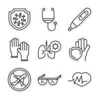virus covid 19 pandemic respiratory pneumonia disease icons set line style icon vector